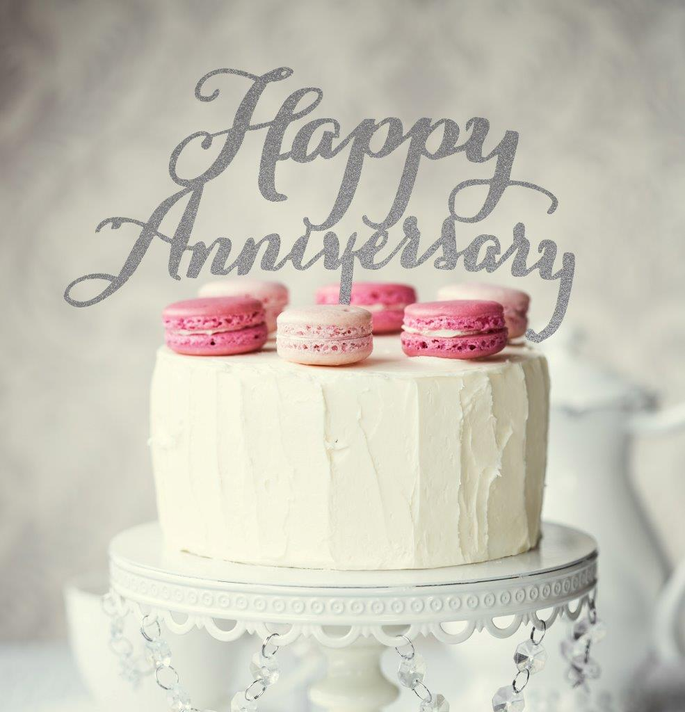 Happy Anniversary Cake Topper Black Bake Group