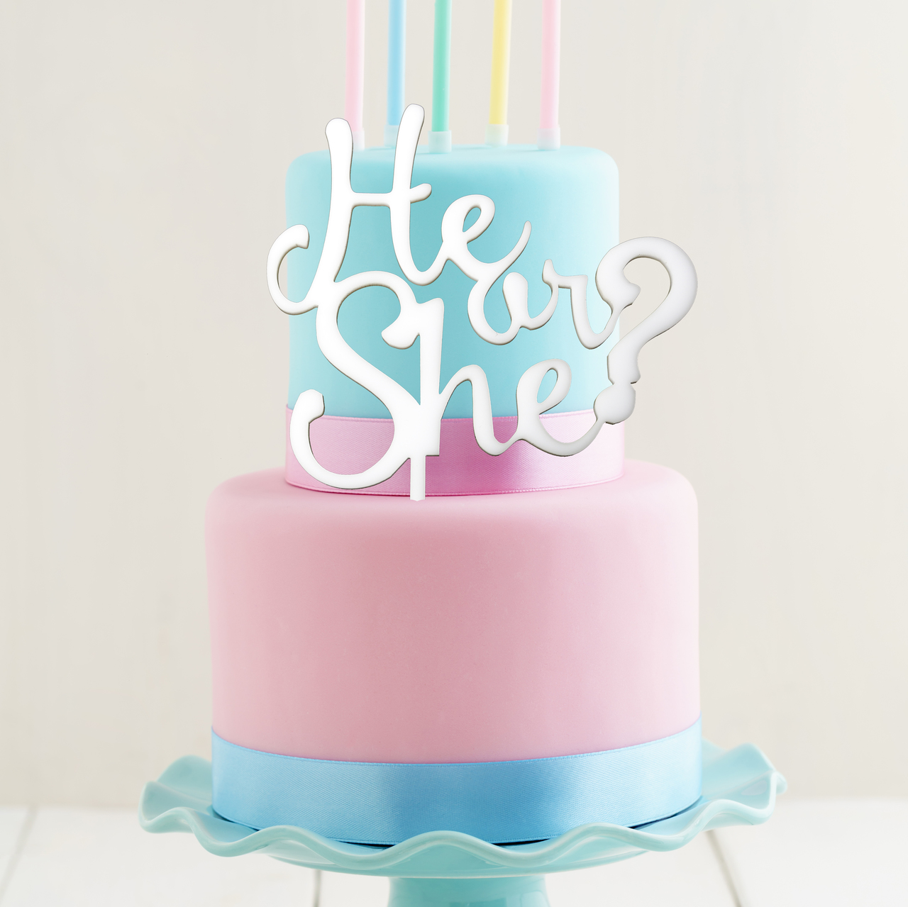 HE or SHE Cake Topper (White)