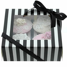 BLACK & WHITE STRIPE Cupcake Box with PVC Window (holds 4 cupcakes)