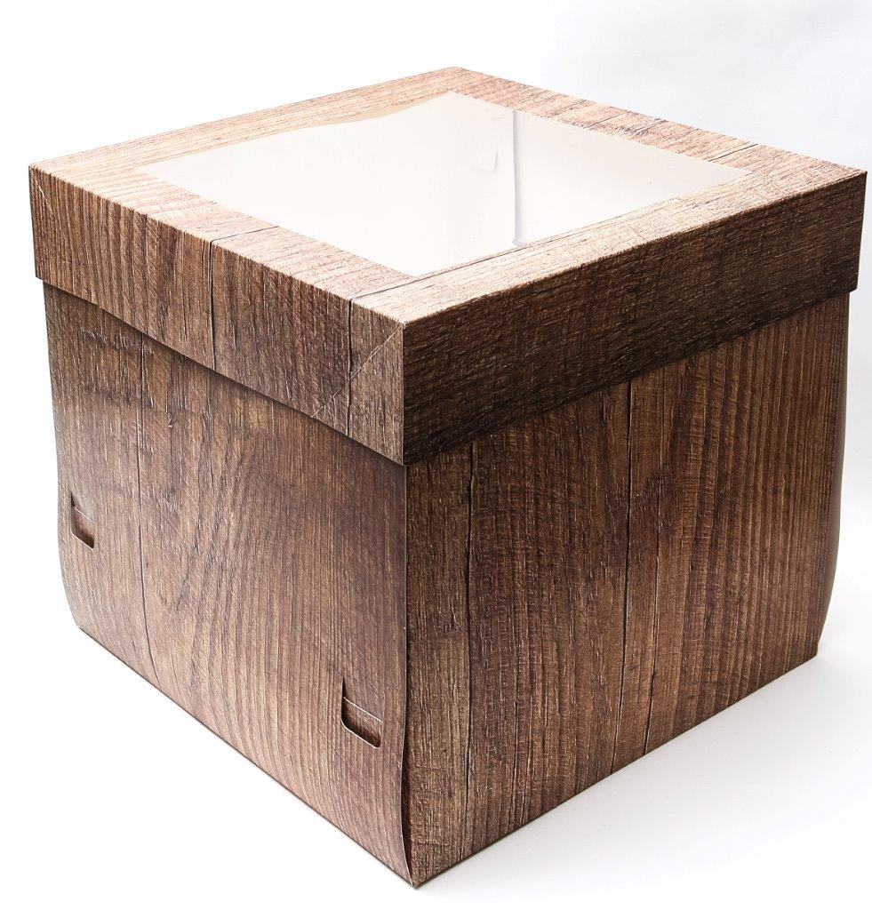 WOOD GRAIN 25cm Tall Cake Box with Window 10 inch
